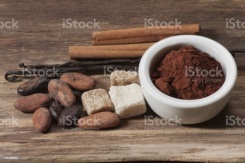 Cocoa drink ingredients royalty-free stock photo
