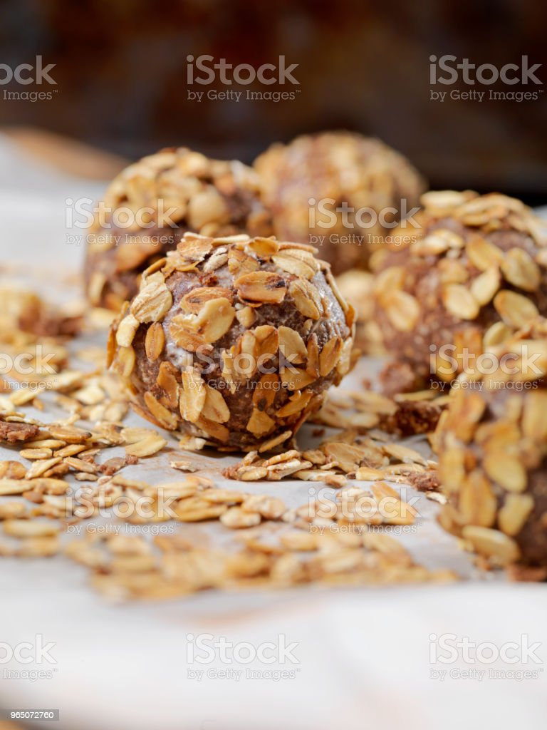 Cocoa Energy Bites with Toasted Oats and Almond Butter royalty-free stock photo