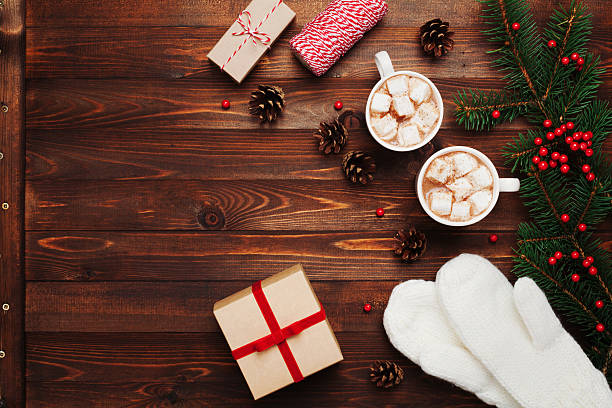Cocoa or chocolate with christmas decoration and fir tree background. - foto de acervo