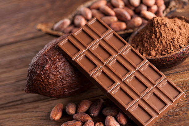 Cocoa pod and chocolate bar and food dessert background – Foto