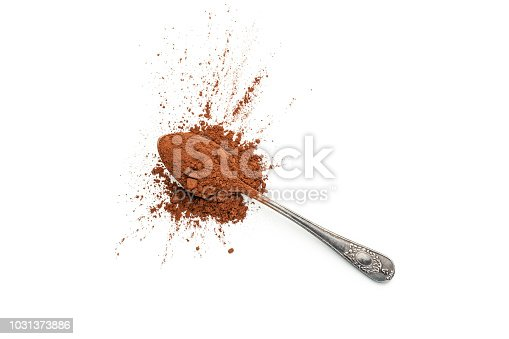 Top view of a metal spoon with cocoa powder shot on white background. Predominant colors are brown and white. Useful copy space available for text and/or logo. High key DSRL studio photo taken with Canon EOS 5D Mk II and Canon EF 100mm f/2.8L Macro IS USM.