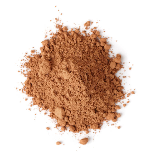 Cocoa powder isolated on white background stock photo