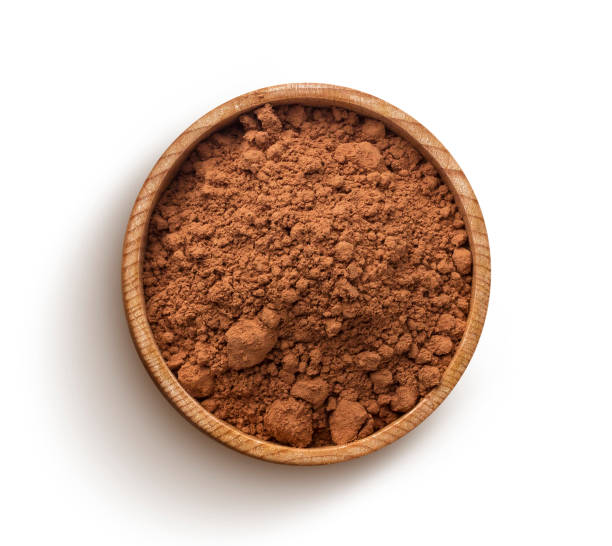 Cocoa powder isolated on white background. Top view Cacao. Pile of cocoa powder in wooden bowl isolated on white background, top view cacao fruit stock pictures, royalty-free photos & images