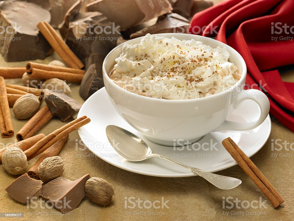 Cocoa with whipped cream in a white cup royalty-free stock photo