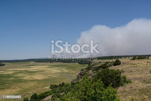 A lightning started forest fire rages in the coconino national forest as seen from the Norman lake overlook east of flagstaff
