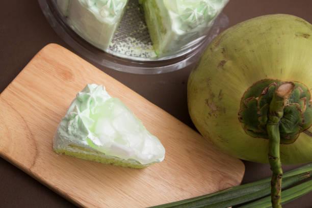 coconut and pandan cake - pandan składnik zdjęcia i obrazy z banku zdjęć