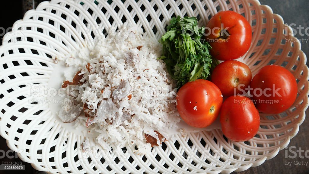 coconut  and tomato in tray stock photo