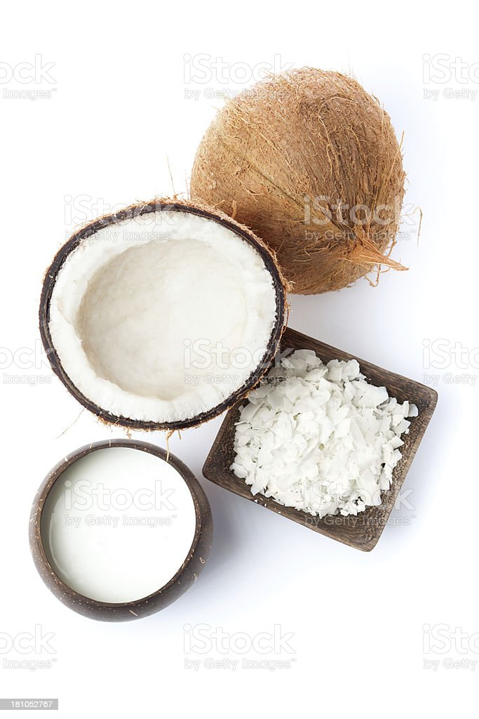 Coconut Argricultural Foodf Products, Fruit, Flakes and Milk on White stock photo