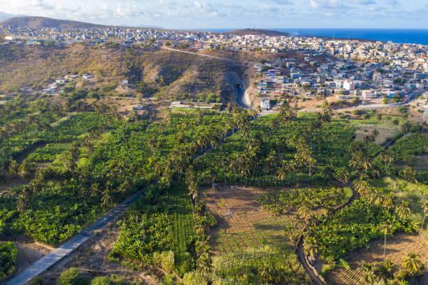 Coconut, banana, and sugar canne plantation near Achada Fazenda in Santiago Island  in Cape Verde - Cabo Verde stock photo