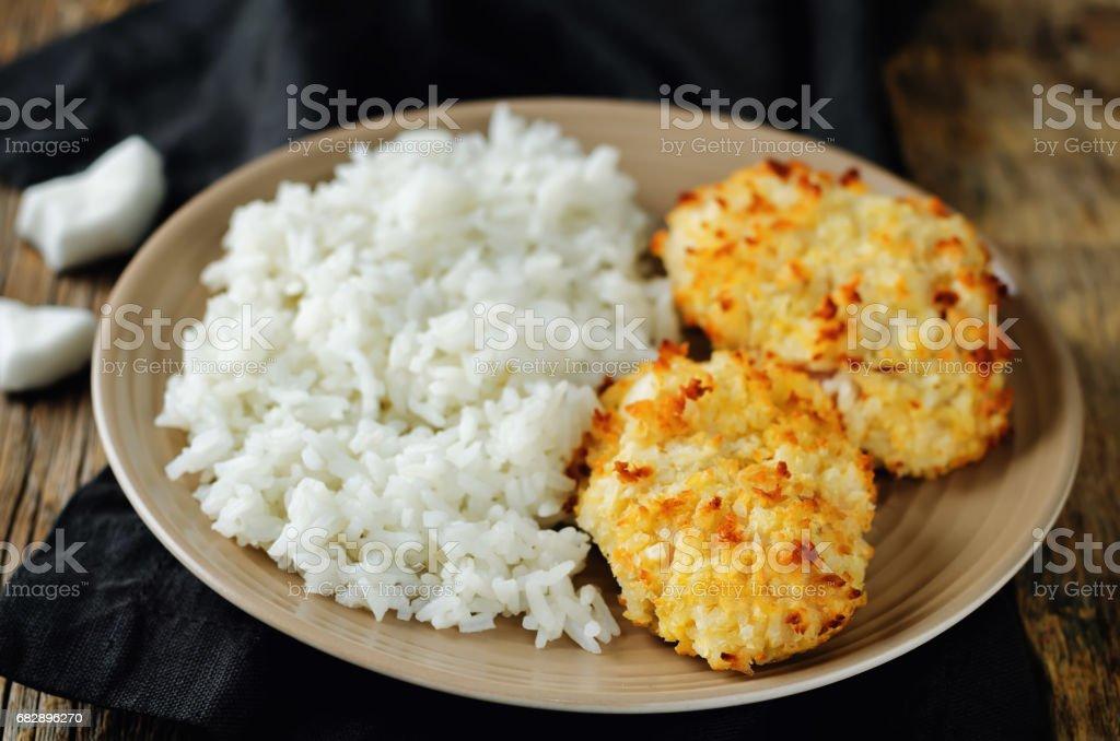 Coconut chicken crust with rice Lizenzfreies stock-foto