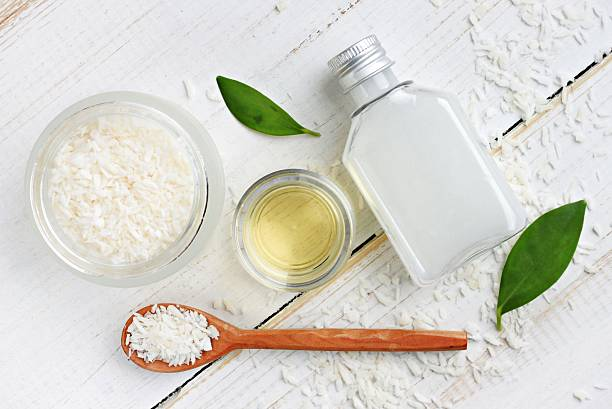 Coconut cosmetic skincare products set stock photo