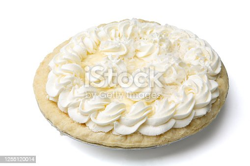 Pastry creme pie on white background. May contain bananas in the filling.