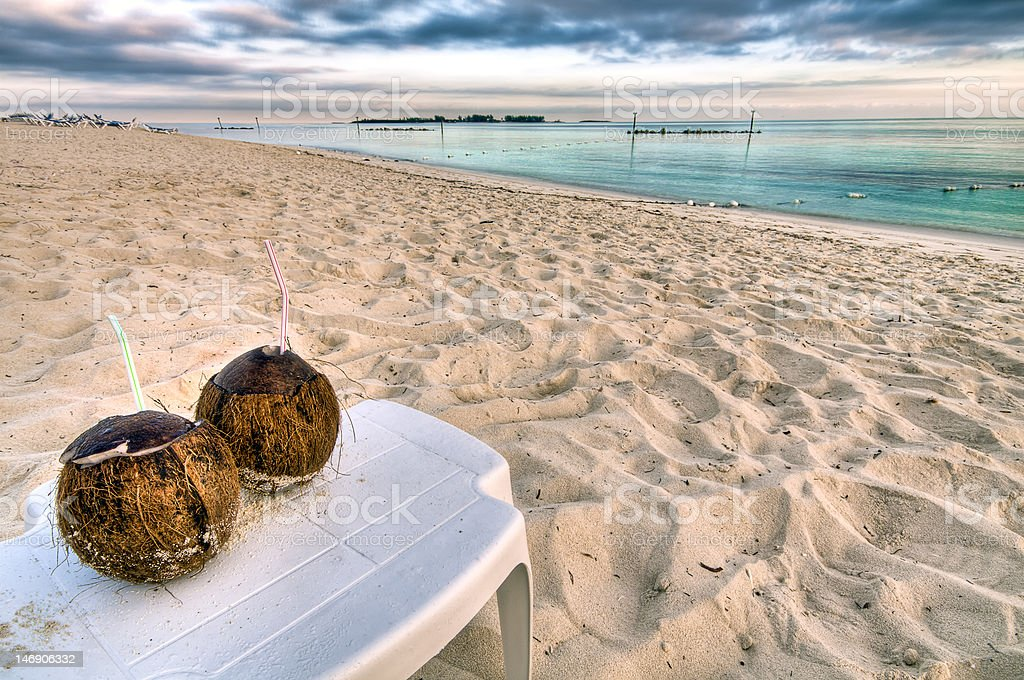 Coconut drink in the beach royalty-free stock photo