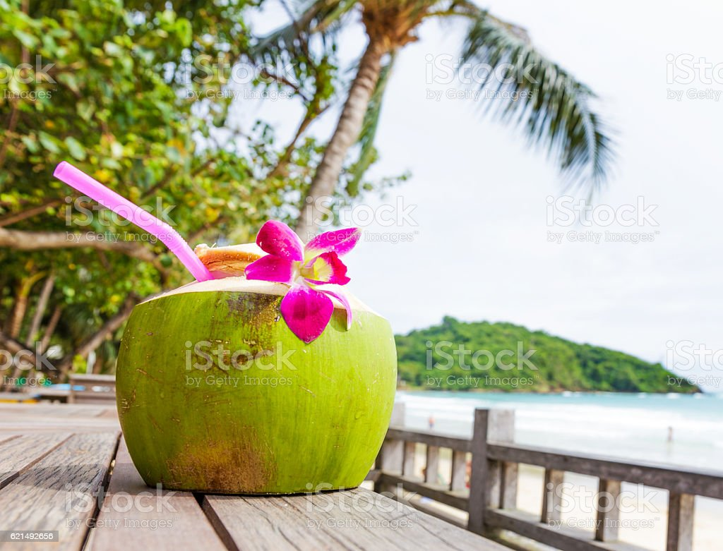 Coconut drink on beach foto stock royalty-free