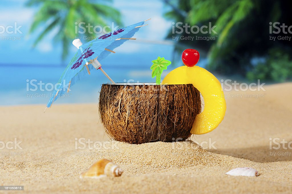 Coconut - Drink-on the beach royalty-free stock photo