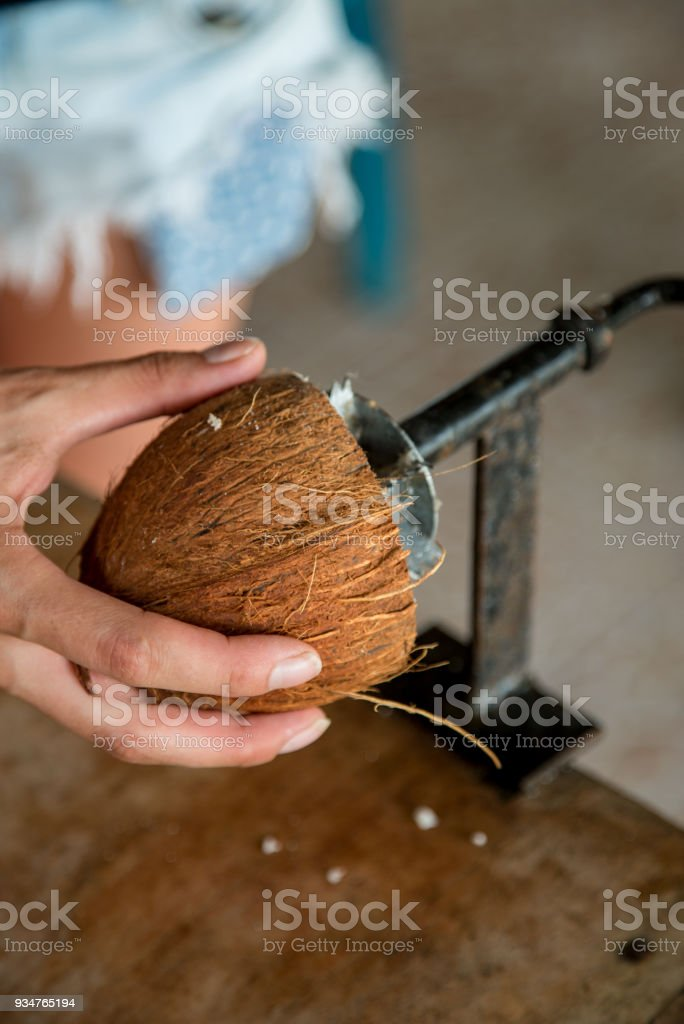 coconut extraction stock photo