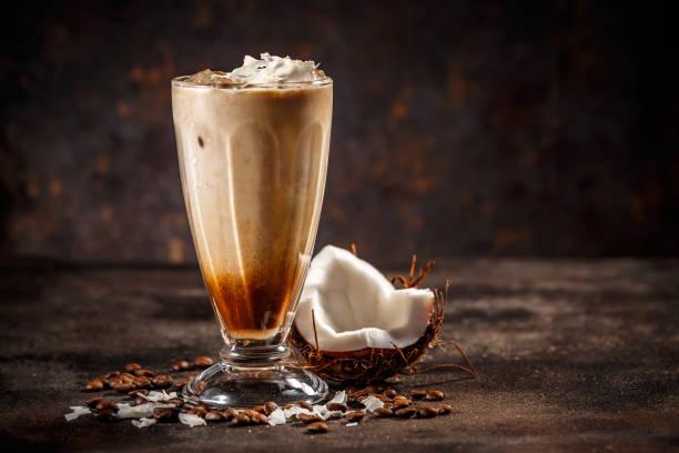 Coconut flavoured coffee stock photo
