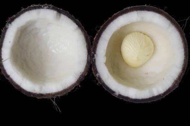 kokosnuss-fruchtisolat auf schwarzem hintergrund - kokoskuchen stock-fotos und bilder