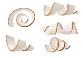 Coconut fruit spiral curl piece set isolated on white background