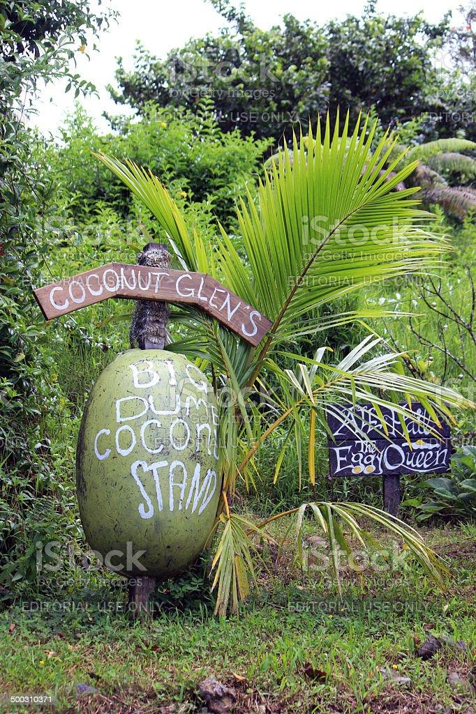 Coconut Glen's Ice Cream Stand Sign, Road to Hana royalty-free stock photo