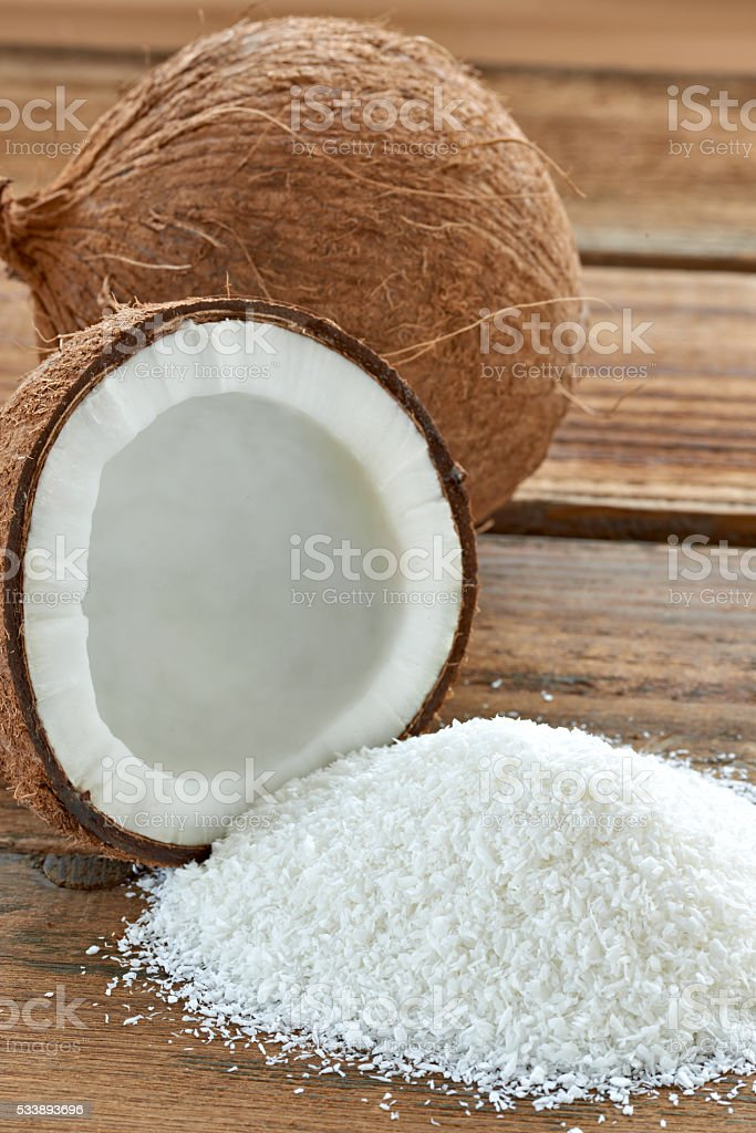 coconut grounded dried flakes fruit food stock photo