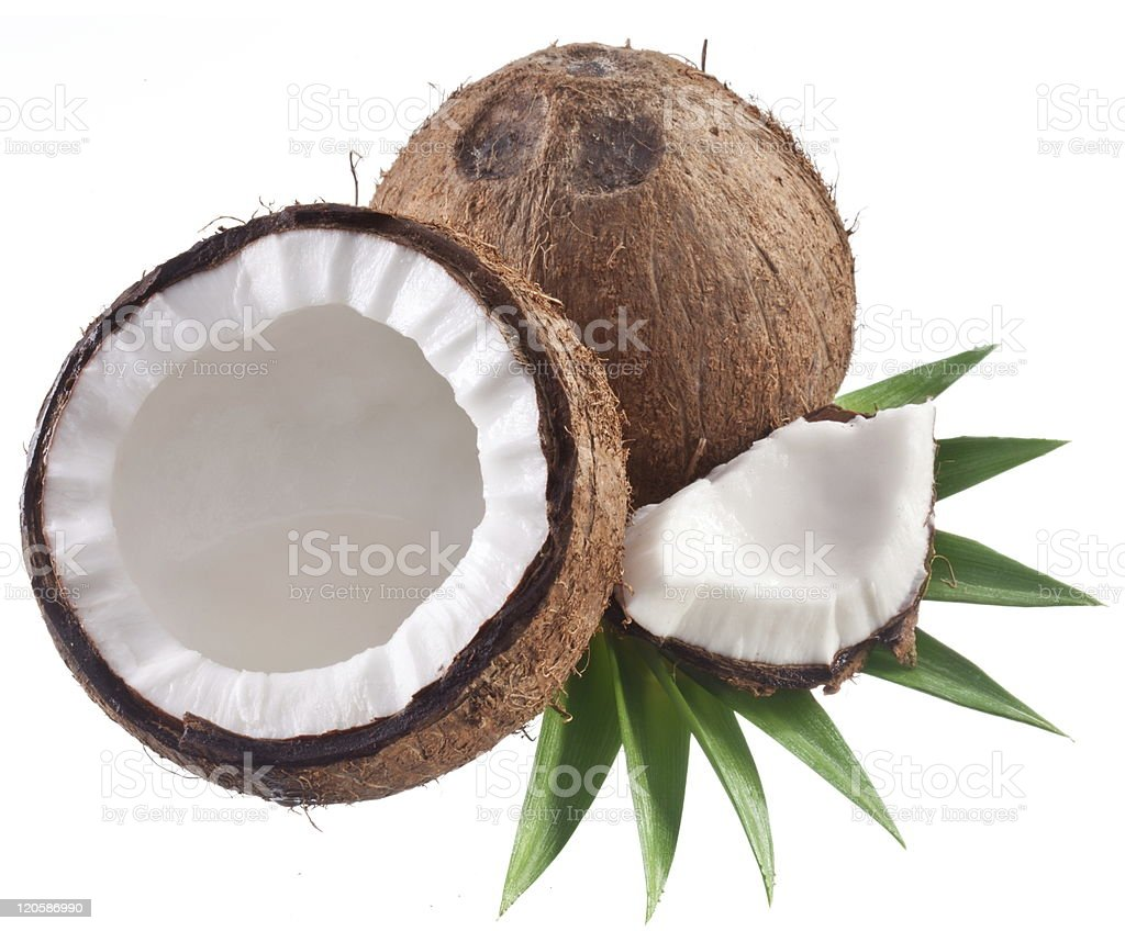 Coconut inner and outer shells royalty-free stock photo