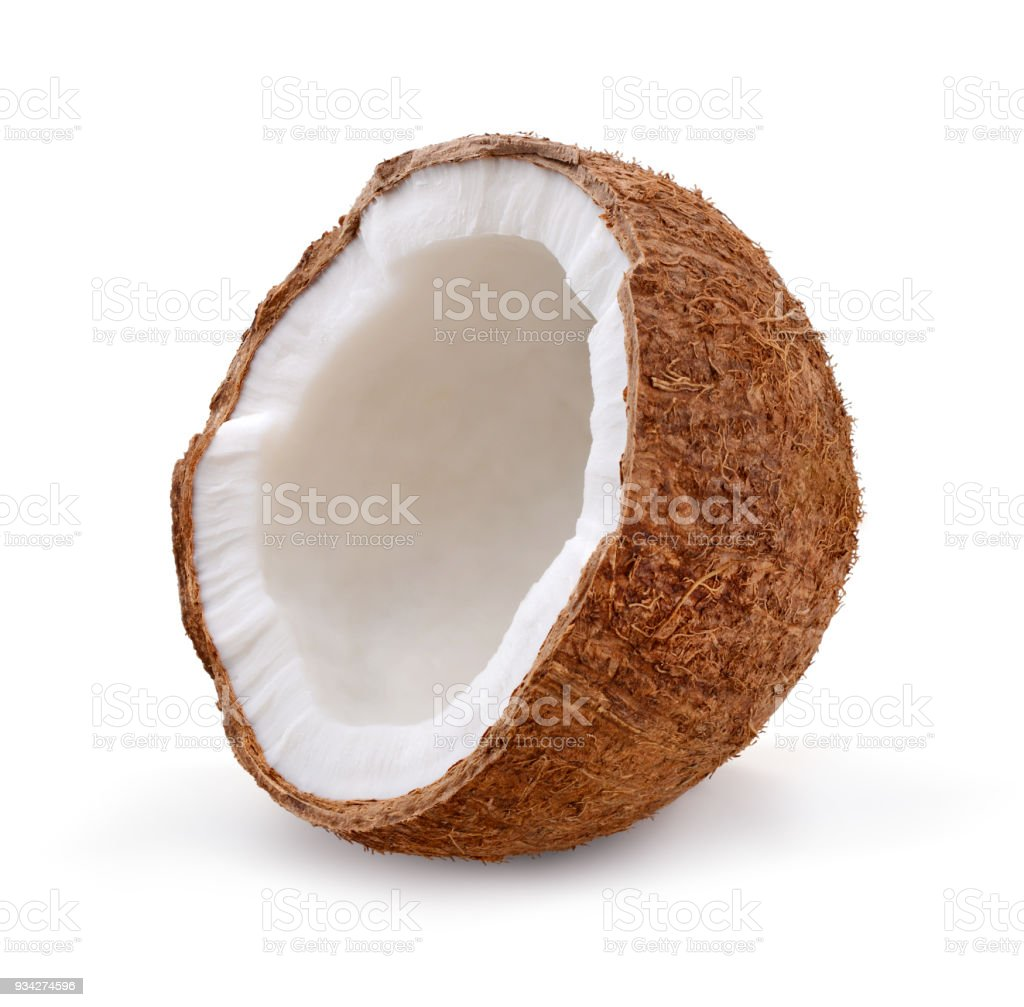 Coconut isolated on white background. Half stock photo