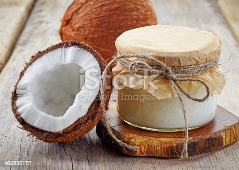 istock A coconut jar with coconut oil and coconuts sliced in half 466830172