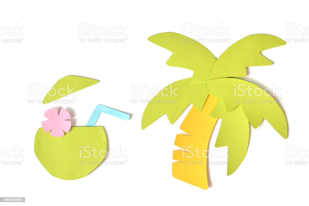 Coconut juice paper cut on white background - isolated stock photo