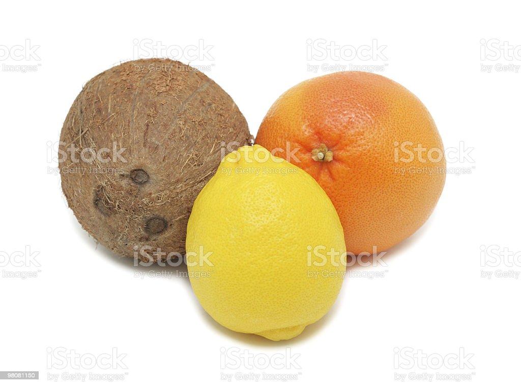Coconut, lemon and grapefruit, isolated royalty-free stock photo