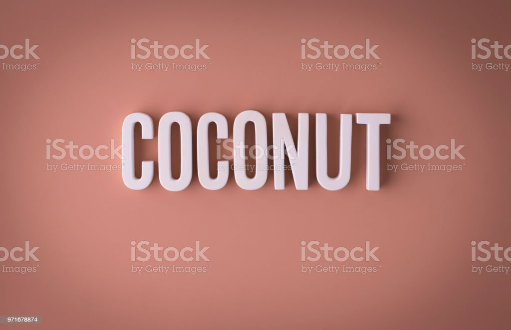 Coconut lettering sign stock photo