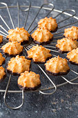 close-up of coconut macaroon cookies with chocolate
