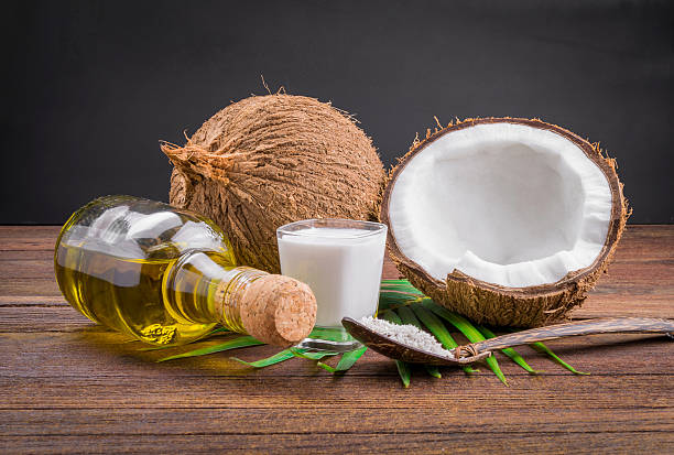 Coconut milk and coconut oil stock photo