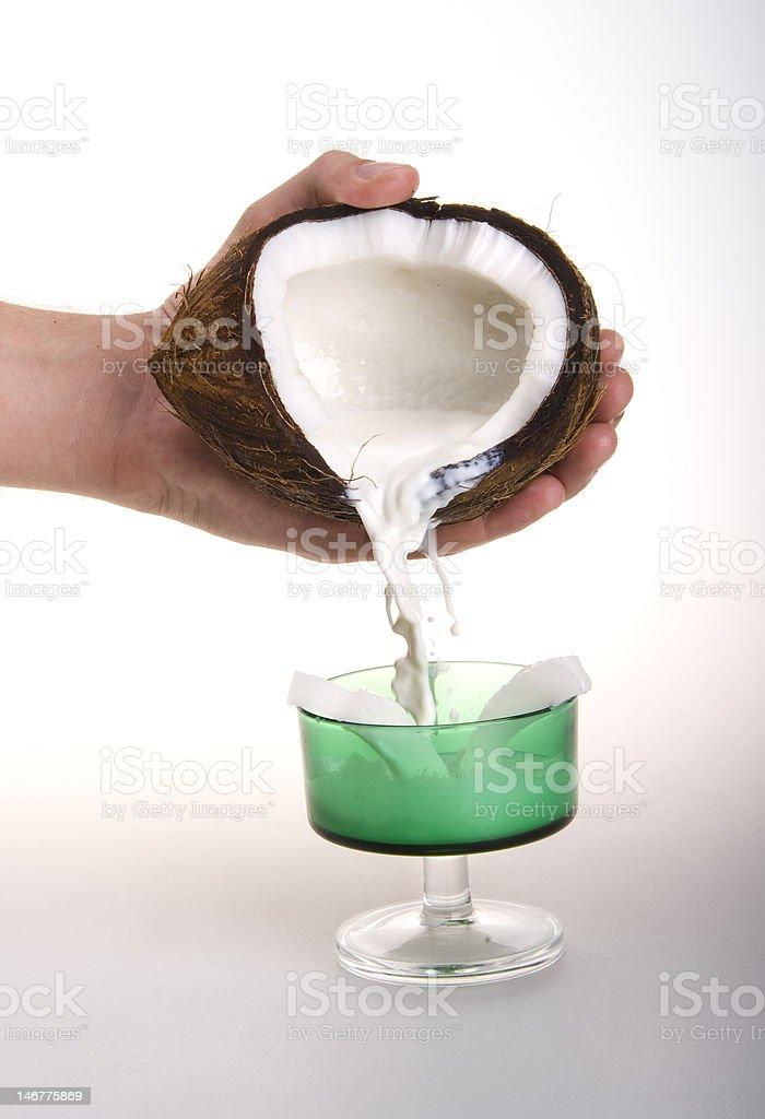 coconut milk poured stock photo