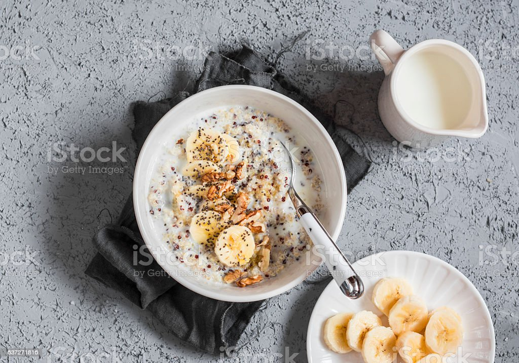 Coconut milk sweet quinoa porridge. Healthy breakfast stock photo