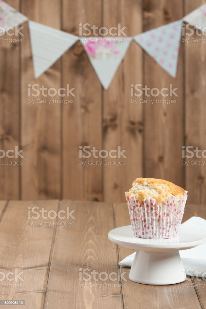 Coconut Muffin. Pennant Flags Holiday Decorations. stock photo