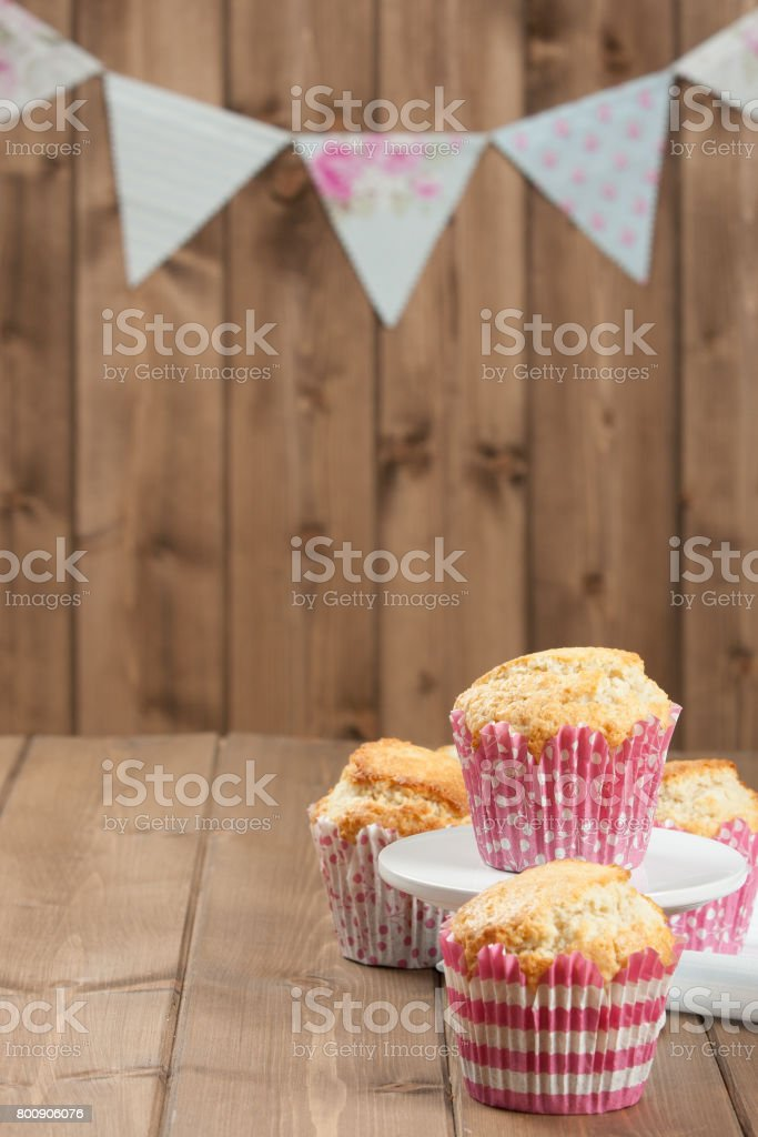 Coconut Muffins. Pennant Flags Holiday Decorations. stock photo