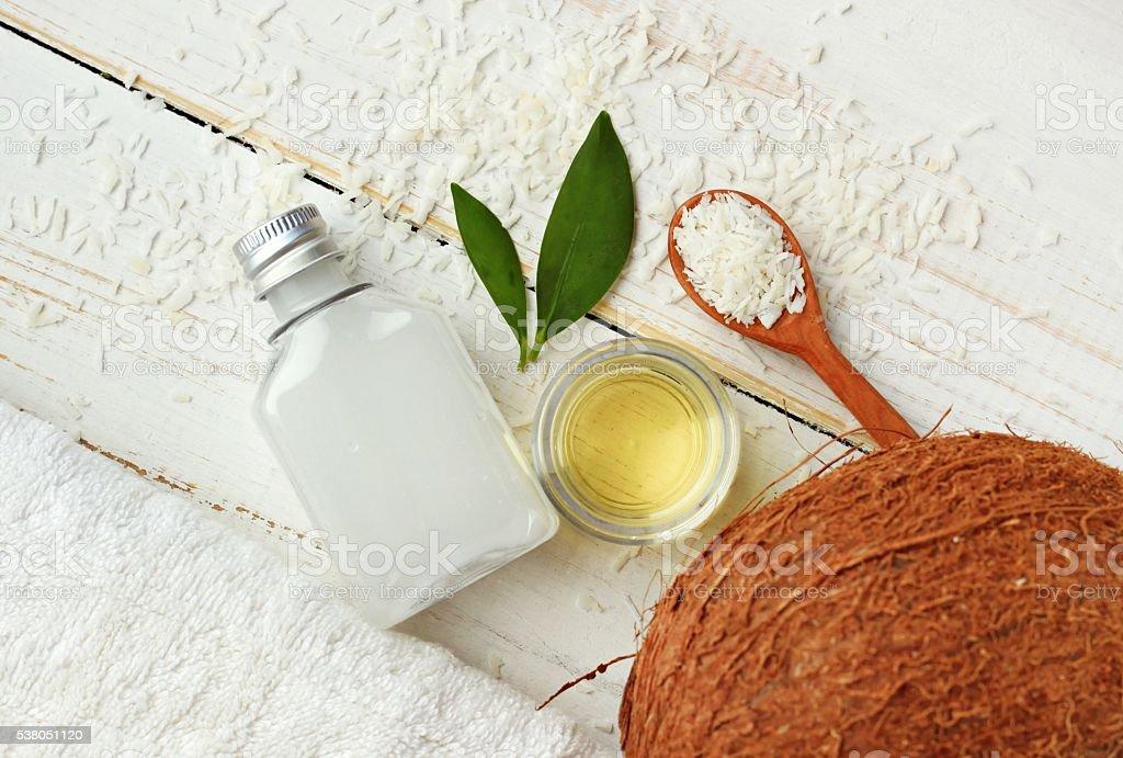 Coconut natural beauty treatment. stock photo