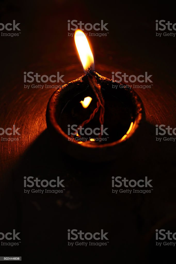Coconut oil lamps stock photo