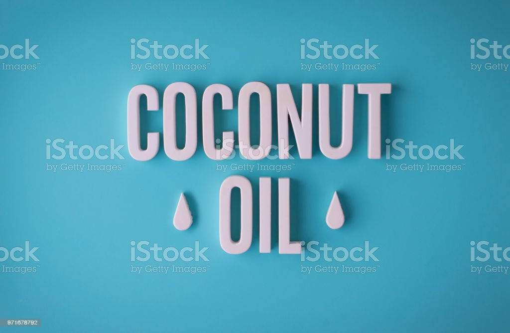 Coconut oil sign lettering stock photo