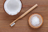 coconut oil toothpaste, natural alternative for healthy teeth, wooden toothbrush, above