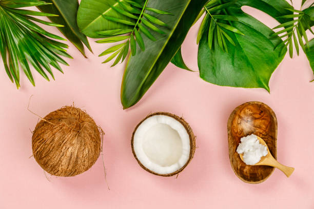 Coconut oil, tropical leaves and fresh coconuts Coconut oil, tropical leaves and fresh coconuts, flat lay, healthy life concept spa belgium stock pictures, royalty-free photos & images