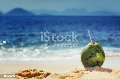 A Coconut on the beaches of Rio de Janeiro