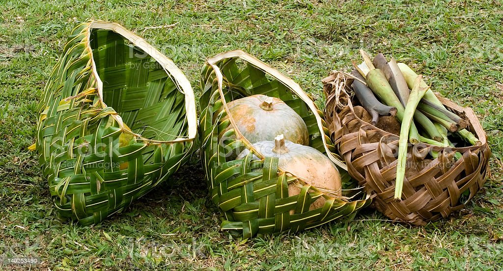 Coconut palm baskets stock photo