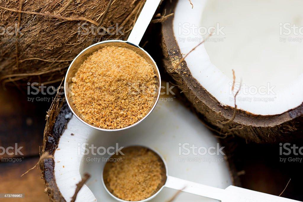 Zucchero di palma da cocco in misura spoons - Foto stock royalty-free di 2015