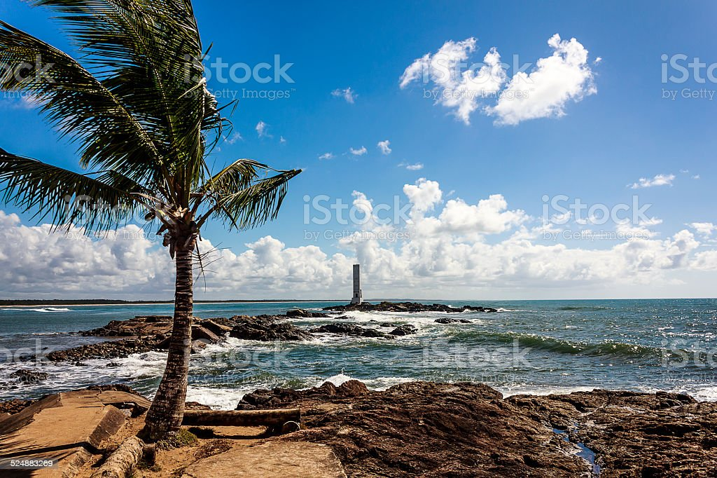 Coconut Palm Tree and Square Lighthouse on Windy Sunny Day stock photo