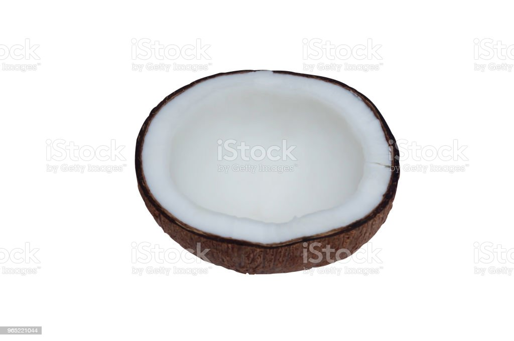 Coconut peeled and broken into half on white background with clipping path royalty-free stock photo