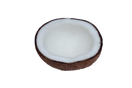 Coconut Peeled And Broken Into Half On White Background With Clipping Path - zdjęcia stockowe i więcej obrazów Bez ludzi
