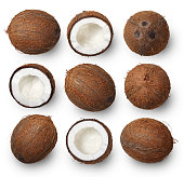 Set of coconuts isolated on white background. Top view.