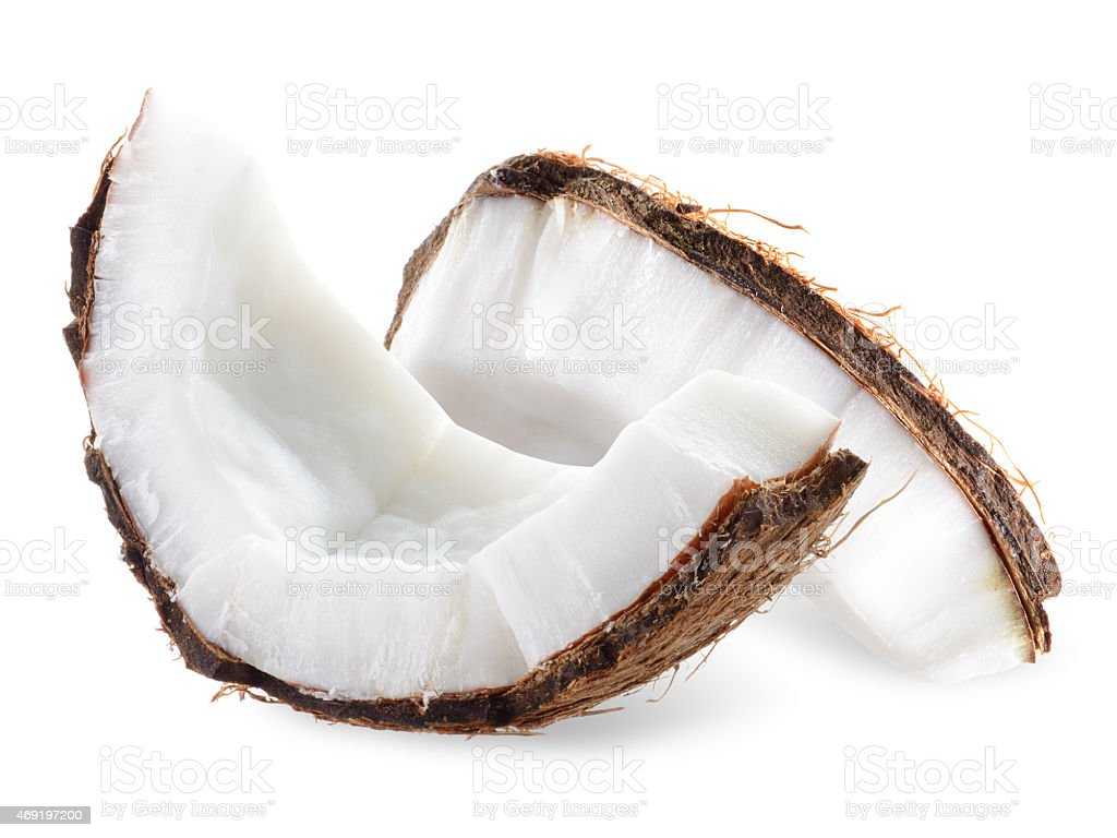 Coconut pieces isolated on a white background stock photo